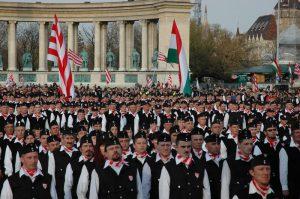 een bijeenkomst van de verboden Hongaarse Garde
